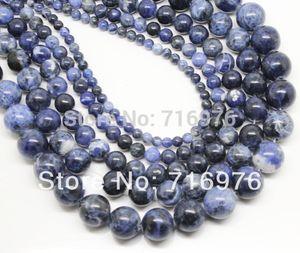 8mm atacado Natural Stone Beads Velho Azul Sodalita Rodada Solta Pérolas Para Fazer Jóias 15.5 polegada Escolher Tamanho 4 6 8 10 12mm