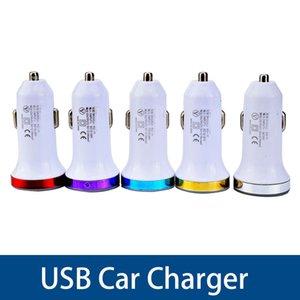 حماية Universial شاحن سيارة 3USB 2A ميناء LED ضوء دائرة ملونة محول الطاقة سيارة شحن لفون 7 سامسونج S8