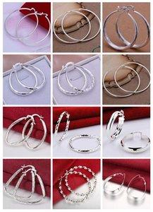 2018 vendite calde 12 paia 12 donne di stile 925 orecchini d'argento di alta qualità all'ingrosso Hoop Huggie placcatura orecchini in argento sterling