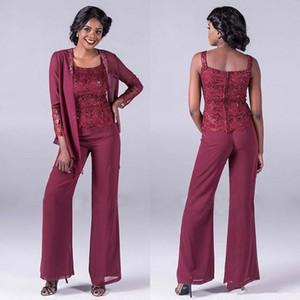 Bordo Dantel Anne Gelin Pantolon Ceketler Ile Suits Ucuz Payetli Düğün Konuk Pantolon Artı Boyutu Şifon Anneler Damat Elbiseler