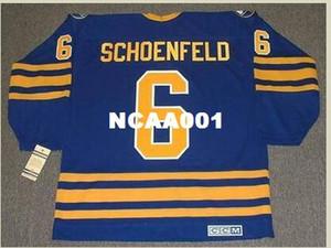 Mens # 6 JIM SCHOENFELD Buffalo Sabres 1976 CCM Vintage Hockey Jersey o personalizada cualquier nombre o número retro Jersey