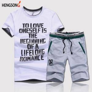 HENGSONG Homme Casual O-cou Lettres Imprimé Top Tees + Short à Cordon Homme Fitness Set Été 2 Pièces Set Fitness Vêtements 735700