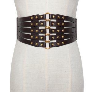 Новых женских металлические упругой широкого пояс полой кожи девушка серебряного круг леди многослойные ремни Vintage кожаный ремешок пряжка ремень