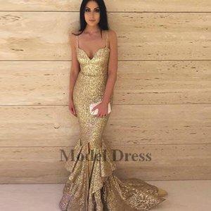 Alta moda oro Prom Dresses Paillettes Sparkly Ruffles Front Split Piano Lunghezza Spaghetti cinghie Sexy Sweetheart Abiti da sera