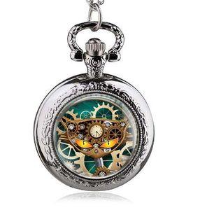 Nueva Llegada Bronce Punk Gato Cuarzo Vintage Collar Reloj de Bolsillo Hombre Mujeres Steampunk Colgante Mejor Regalo