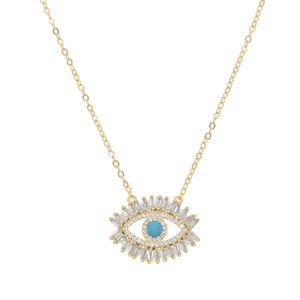 Evil Eye Halsketten Gold Blue Eyes Schmuck Simple Womens Girls Drop Shipping Gold Farbe zierliche CZ Kristall Halskette Mädchen Dame Geschenk