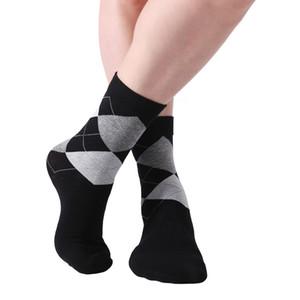 Марка 10 пар / серия Мужские носки сплошной цвет хлопка носки Argyle Pattern платье Crew Socks для бизнеса Повседневный Смешные Длинные Носок