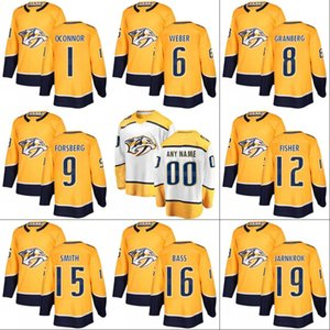 # 12 Mike Fisher Nashville Predators Jersey Herren Damen Jugend 6 Shea Weber 16 Cody Bass 19 Calle Jarnkrok Benutzerdefinierte Hockey Trikots