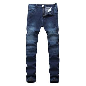 Hi-Street Mens Ripped Motociclista Jeans Motociclista Motocicleta Slim Fit Lavado Preto Cinza Azul Denim Calças Basculadores Homens Magros