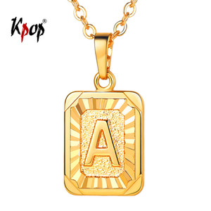 Kpop Letter A Necklace Unisex Jewelry Gold / Silver Color Stainless Steel Square Initial Alpabet Colgante Necklace A to Z P3490