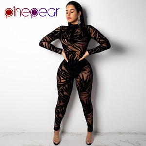 PinePear Leaf Mesh Jumpsuit 2019 Trendy Women Long Sleeve Turtleneck See Through Sexy Club 2 Piece Set Party Matching Outfits