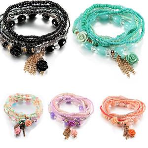 Bohemio estilo de la flor gotea encanto pulseras para la joyería de las mujeres brazalete de perlas de Boho de la borla de múltiples capas simulado nave de la gota del regalo del partido