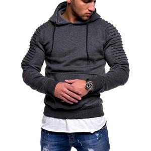 Men  Casual Fashion Men Sweatshirt Men'S Pullover Coats Striped Pleated Raglan Sleeve Hoodie With Pockets Plug Size 3XL