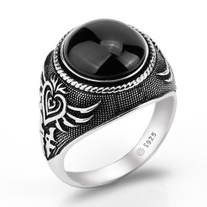 Real 925 Sterling Silver Men Ring Black Big Agate Natural Stone Personality Poker Featured for Men Women Lovers Jewelry