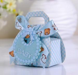 24pcs / lot Ours forme bricolage papier cadeau de mariage Christening baby shower Party Favor Boîtes Bonbonnière avec bavette Rubans Balises