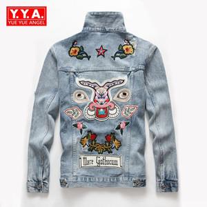 2018 новое отверстие джинсовые Jackests мода вышивка мужчины куртки твердые отложным воротником Ковбой мужской пальто одежда Jaqueta Masculina