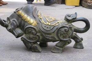 19 Çin Fengshui Lucky Para Servet boğa Vahşi öküz eski Bronz Yaldız inek Heykeli