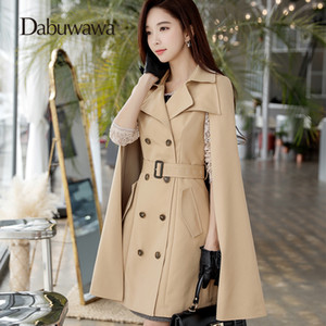 Dabuwawa Khaki Spring Blend Coat Slim Trench Coat Long Breasted Outwear Casual Mujer Cape Blends