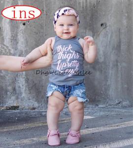 Ins verano niños thickhighs carta imprimir chaleco tops camiseta niños niñas camisetas de algodón camiseta sin mangas 3colors elegir envío gratis