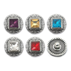 Botón de metal multicolor Rhinestone Snap botones del corazón W096 aleación de joyería al ajuste de 18 mm Snap collares / pulseras para las mujeres