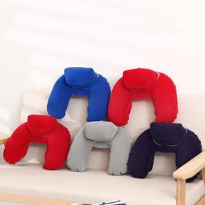 U 모양 볼스터 인플레이션 옥외 여행 베개 프레스 사무실 Nap 유연한 공기 누출 베개 인감 쉬운 캐리 타이즈 4 8jx cc
