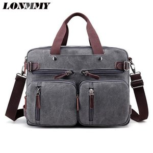 LONMMY Top Sell Fashion Business Men Briefcase Bag Canvas 14 inches Laptop Bag Casual Man Shoulder bags