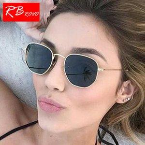 RBROVO 2018 Summer многоугольные Женщины Солнцезащитные очки Мужские очки Lady Металл Солнцезащитные очки Урожай Зеркало UV400