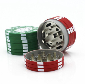 Poker Style Herbal Grinders Three Layers Tobacco Grinder Herb Hand Muller Cigarette Crusher Smoking Pipe Accessories Red Green Black YW1144