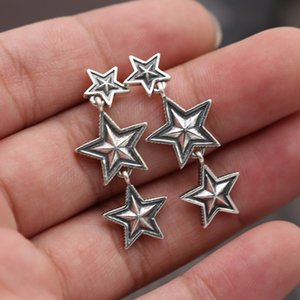 Brand new 925 sterling silver jewelry antique silver hand-made designer stars stud earrings for women & men gift birthday