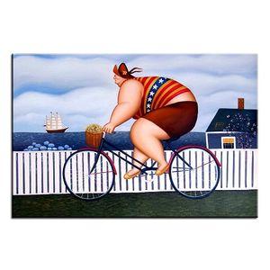 Fernando Botero - Ciclismo Dipinto a mano HD Stampa Classica Ritratto Arte Pittura ad olio su tela Home Deco Wall Art Opzioni del telaio fr12