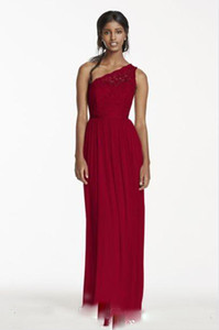 Cheap Long Bridesmaid Dress NEW! One Shoulder Corded Lace and Mesh Party Dress Skirt Style Evening Dresses Custom Made