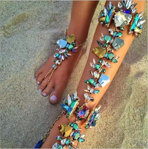 Güzel Lüks Gelin Ayak Bileği Bilezik Zincir Plaj Tatil Seksi Bacak Zinciri Kadın Kristal Halhal Ayak Takı Üst Satış Renkli