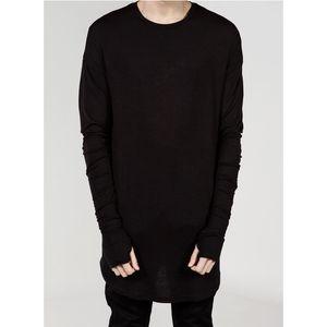 T-shirt prolongé des hommes de rue de rue T-shirt prolongé des hommes Vêtements incurvés Hem longue ligne Tops Tees Hip Hop urbain vierges Chemises