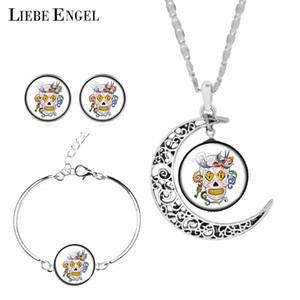 LIEBE ENGEL Mexiko Sugar Skull Schmuck Sets Für Frauen Geschenk Ohrringe Armband Mond Aussage Halskette Sets Vintage Silber Farbe