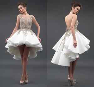 Little White Cocktail Dresses Sexy Sheer Pescoço 3D Rendas Apliques de Tule Sem Mangas Backless Alta Baixa A Linha de Vestidos de Baile Vestidos de Festa