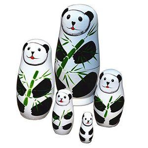 5 pcs / set Mignon Matryoshka Russe Poupée Panda Poupées Peint À La Main En Bois Jouets Chinois À La Main Artisanat Cadeau