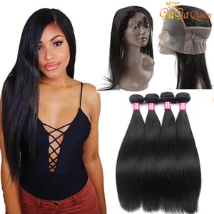 360 Lace Frontal Schliessen mit Bundles brasilianischen gerade Menschenhaar mit 360 Spitze Frontal brasilianischen Glattes Haar Bündel mit 360 Closure