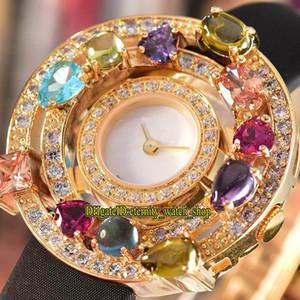 Дешевые высокое качество ювелирных изделий астрале 102011 AEP36D2CWL белый циферблат швейцарский кварцевые женские часы золото бриллиант безель Кожаный ремешок Леди наручные часы