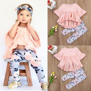 Kids Clothing Cotton T-shirt Top Short Sleeve Pants Flower Floral 2PCS Toddler Kids Baby Girls Outfits Clothes Sets