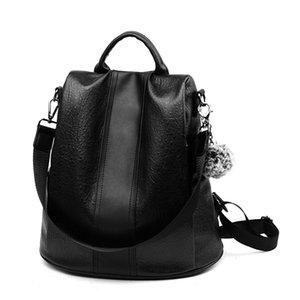 Mochila de diseño antirrobo detrás de la abertura bolso femenino bandolera dama de cuero suave estudiante universitario de moda mochila de viaje