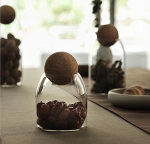 lattine sigillate presa palla di sughero, alta borosilicato bottiglia di vetro trasparente impostare foglia teiera, cereali alimentari cucina serbatoio di stoccaggio