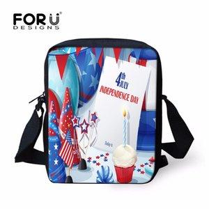 Borsa a tracolla piccola da uomo modello FORUDESIGNS Flag Pattern, borsa a tracolla stampa Independence Day, borsa a tracolla moda