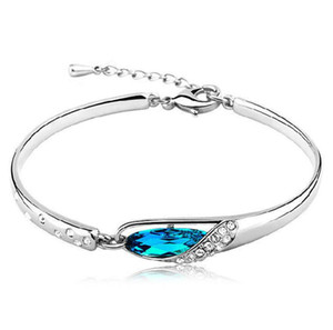 Choucong Original Marque Desgin Mignon Bijoux De Luxe 925 Sterling Argent Rempli Superbe Chaîne De Cristal Bleu Chaîne De Mariage Bracelet Cadeau
