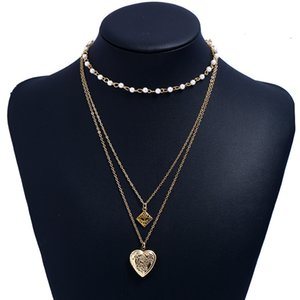 New Fashion Multilayer in metallo cuore ciondolo collana può aprire cave catena aromatiche aromatiche aromatiche catena di collana con giri perla hip hop