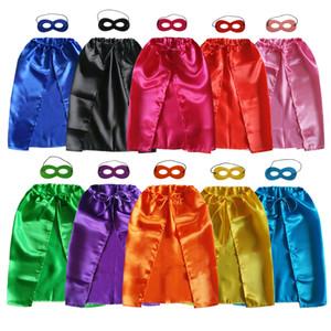 50 * 70cm Mantella da supereroe con lacci semplice + maschera per bambini di 1-4 anni 10 colori supereroi costumi bambino Halloween tema natale mantello