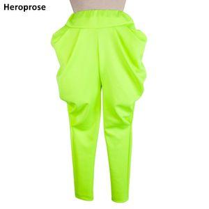 Heroprose New Fashion Brand 재즈 하렘 힙합 형광 녹색 스웨트 캐주얼 봄 가을 바지 루즈 댄스 바지