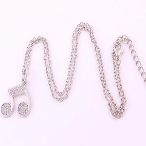 Crystal Music Note Charm Pendent Schmuck Silber Musik Notation Choker Gliederkette Halskette Kostenloser Versand