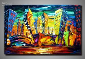 ручная роспись искусство холст нож картина маслом Леонид Афремов холст искусство городской пейзаж стены арт-деко картины продажа украшения дома