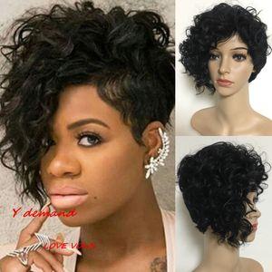 Синтетические Парики Волос Нет Кружева Бразильский Малайзийский Индийский Короткий Черный Кудрявый Вьющиеся Волосы Полный Парик Парики Волос Для Чернокожих Женщин