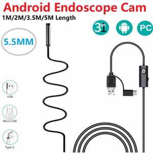 5.5mm Mikro USB Tip-c USB 3-in-1 Bilgisayar Endoskop Android Borescope Tüp Su Geçirmez USB Muayene Video Kamera 1/2 / 3.5 / 5 M